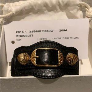 Balenciaga Black Leather Arena Bracelet